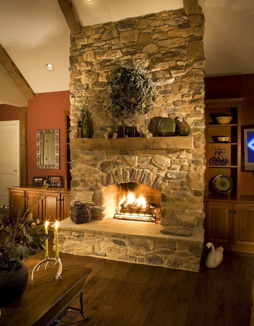 Rustic Stone Fireplace Mesmerizing Rustic Stone Fireplace Design Inspiration