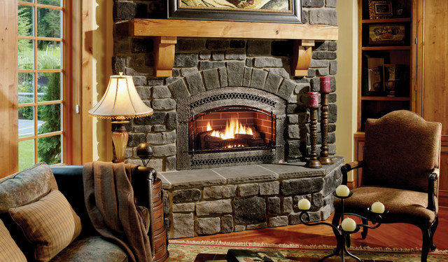 Rustic Stone Fireplace rustic-living-room