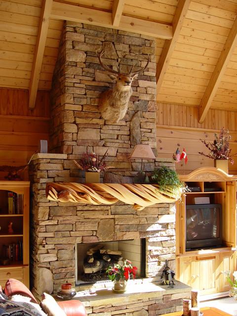 Rustic Stone Fireplace Mantel Rustik Vardagsrum Annan