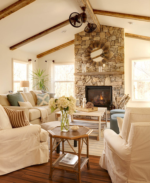 Rustic Sunroom Beach Style Living Room