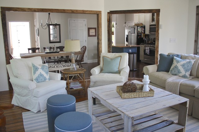 Rustic Sunroom Coastal Living Room