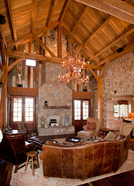 Rustic Timber Frame Home On TX Ranch Traditional Living Room Houston