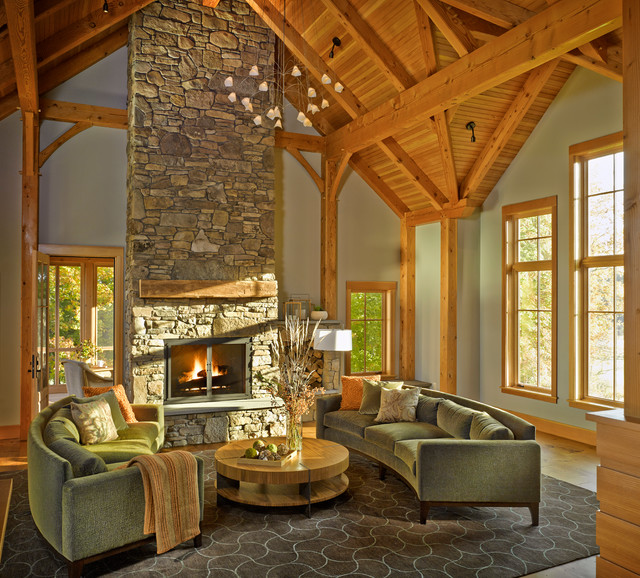 Rustic timber frame home rustic living room for Room design builder