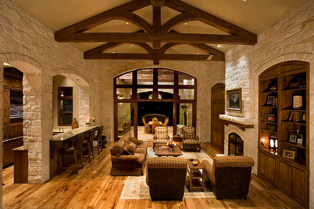 Rustic westlake elegance contemporary living room for Custom rustic homes