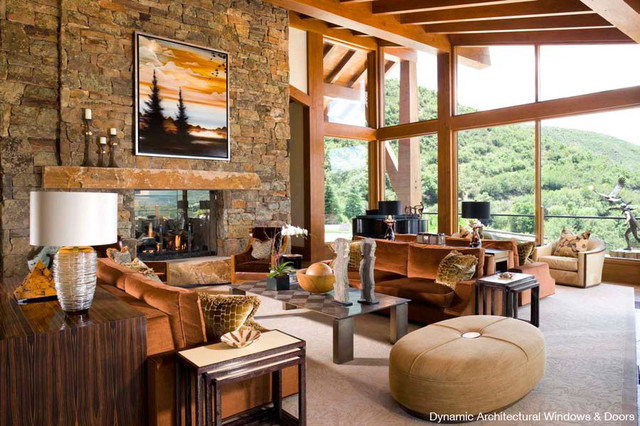 Rustic Wood Window Wall Rustic Living Room