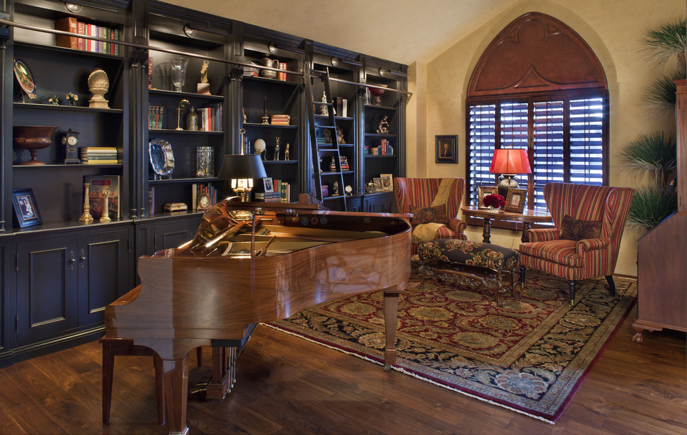 Living room library - traditional living room library idea in Phoenix