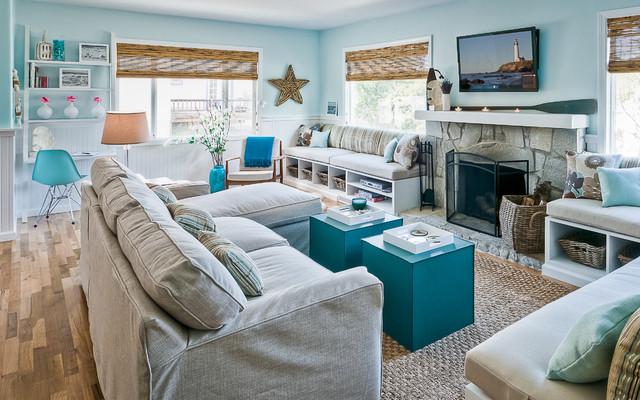 Sabrina Alfin Interiors Monterey Beach House Style Living Room