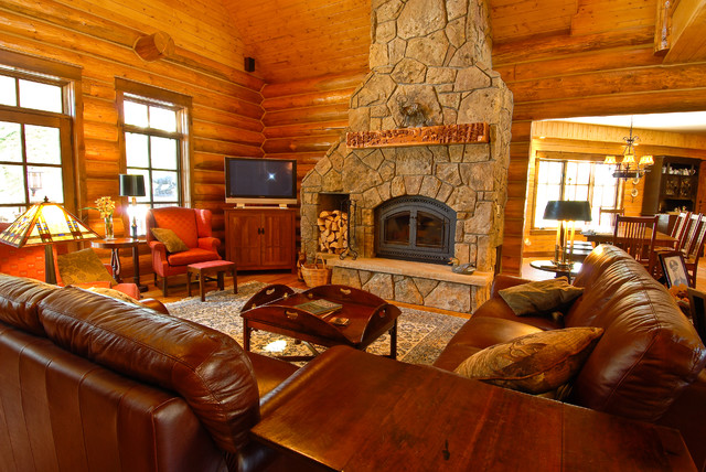 Sage Creek Canyon Hybrid Log Home Rustic Living Room