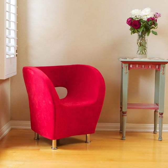 Salazar Red Microfiber Chair Modern Living Room