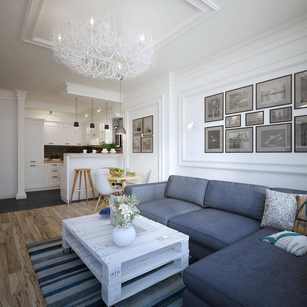 Modelo de salón actual con paredes blancas