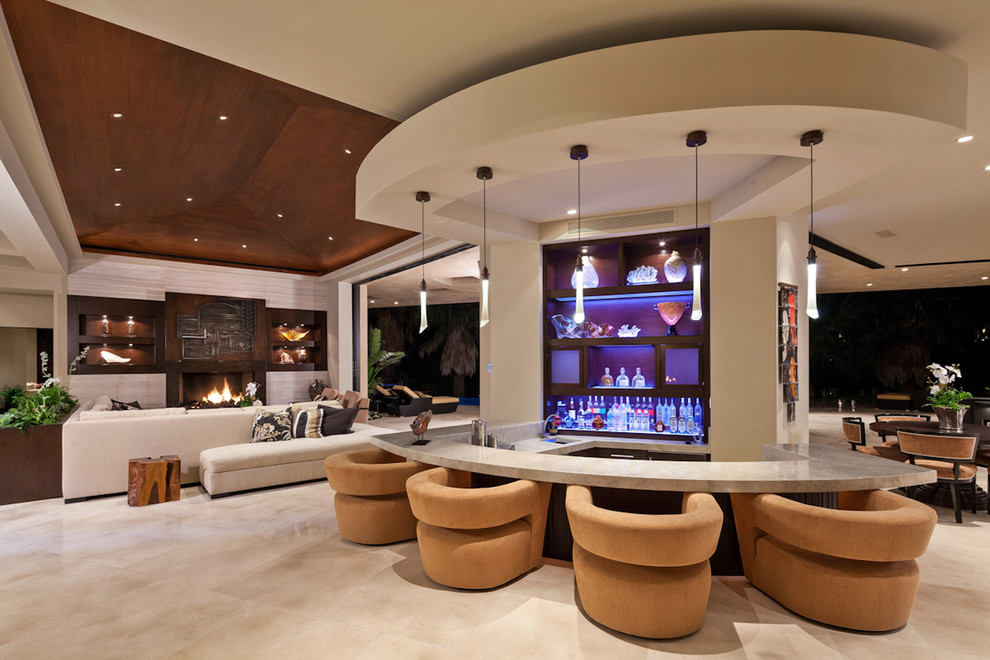 Example of a trendy living room design in San Diego with a bar