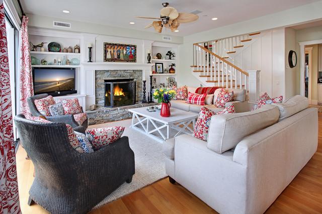 San Clemente Remodel Beach Style Living Room Orange