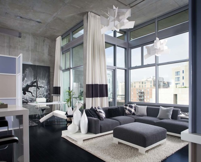 san diego downtown condo industrial living room