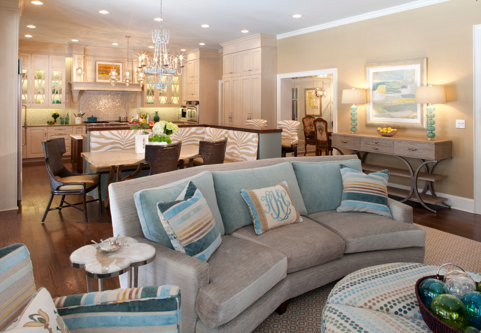 Inspiration for a transitional formal and open concept living room remodel in Jacksonville