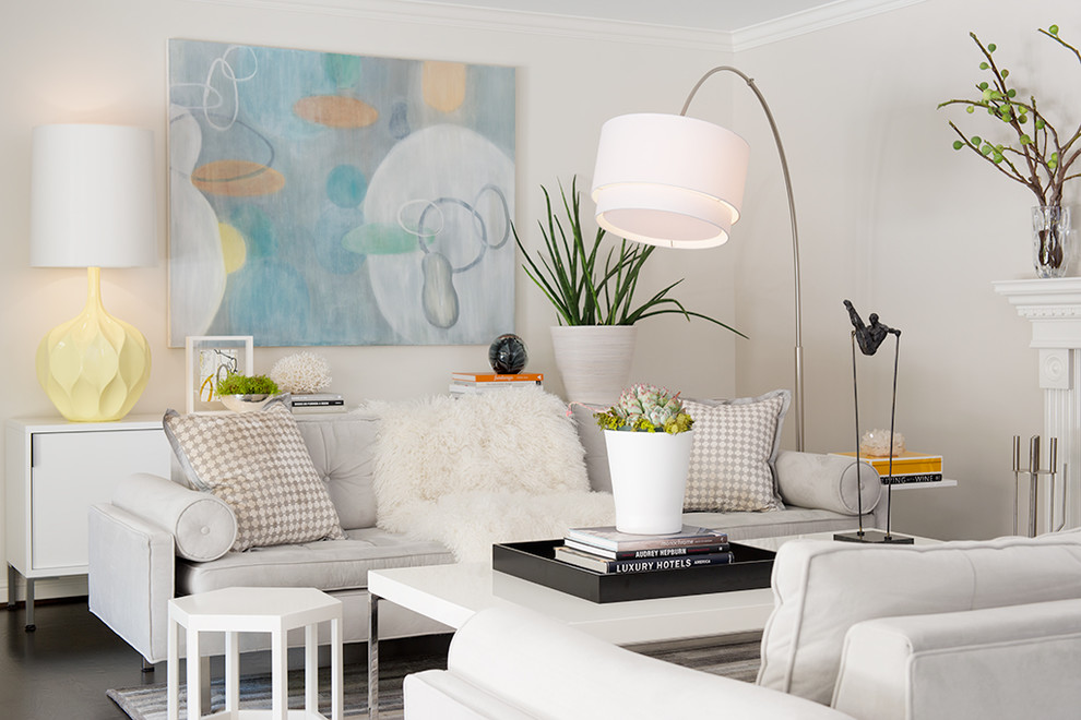 Inspiration for a transitional living room remodel in San Francisco with white walls