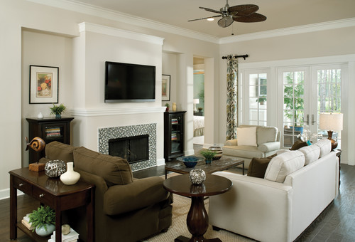 Tropical florida model home for Model home living room