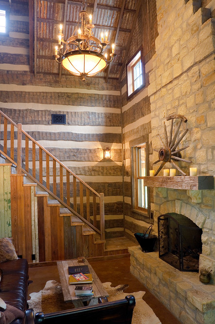 Sandy creek cabin rustic living room austin by for Laughlin cabins