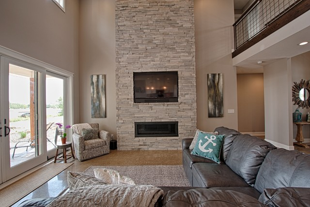 Sandy Point Lake House Transitional Living Room