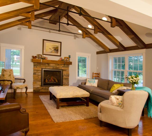 Sandy 39 s ski lodge living room addition rustic living for Living room addition plans