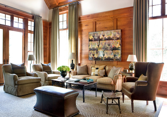 Example of a large transitional open concept living room design in Atlanta with brown walls