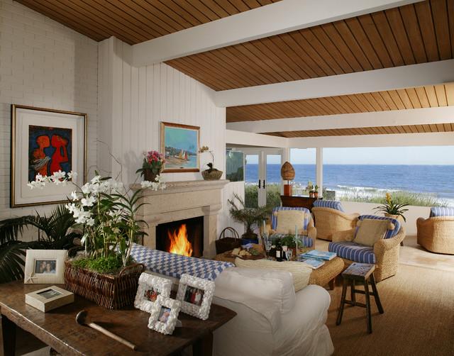Santa barbara beach house tropical living room santa for Santa barbara beach house