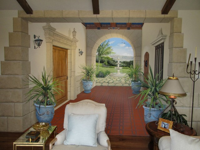 Santa barbara courthouse inspired mural mediterranean living room los angeles by jeff for Mural room santa barbara