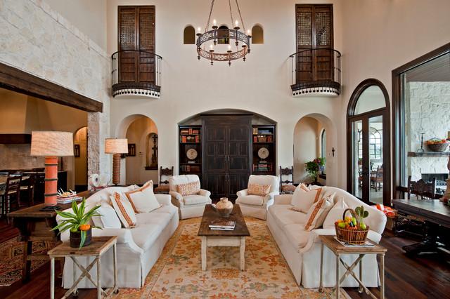 Living Room Huge Mediterranean Formal And Open Concept Medium Tone Wood Floor Brown