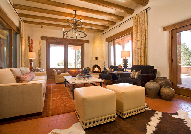santa fe chic mediterranean living room other metro