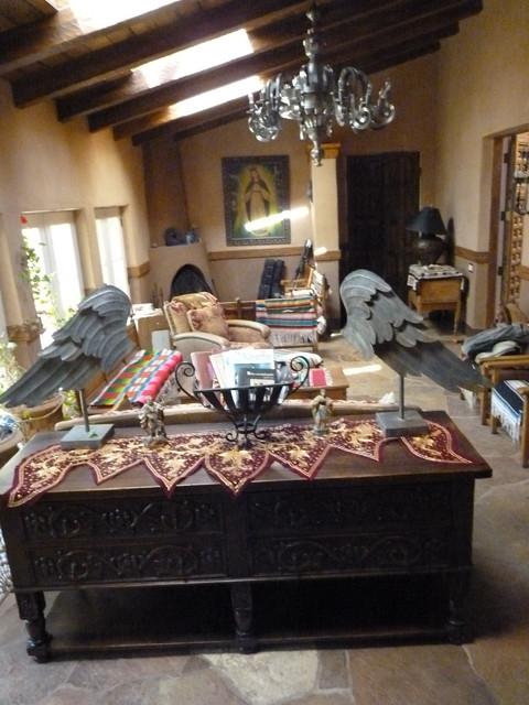 Santa Fe Spanish Colonial Revival mediterranean-living-room