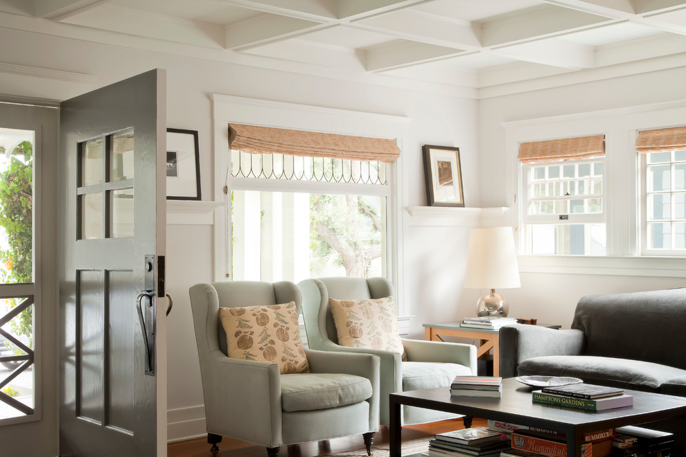 Inspiration for a mid-sized coastal enclosed living room remodel in Los Angeles with white walls