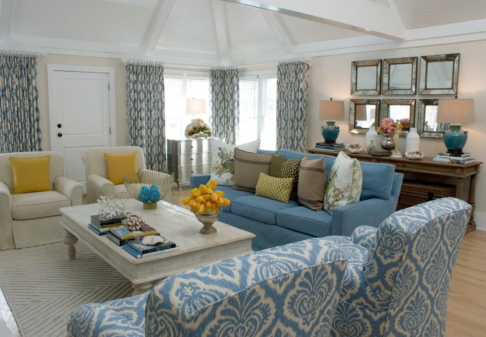 Elegant enclosed light wood floor living room photo in Los Angeles