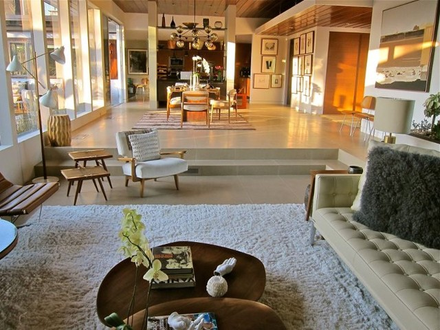 Santa monica mid century modern living room los angeles by natalie epstein design for Houses with sunken living rooms