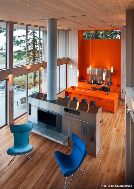 Saratoga Beach House contemporary-living-room