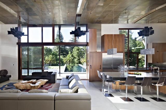 Saratoga Creek House contemporary-living-room