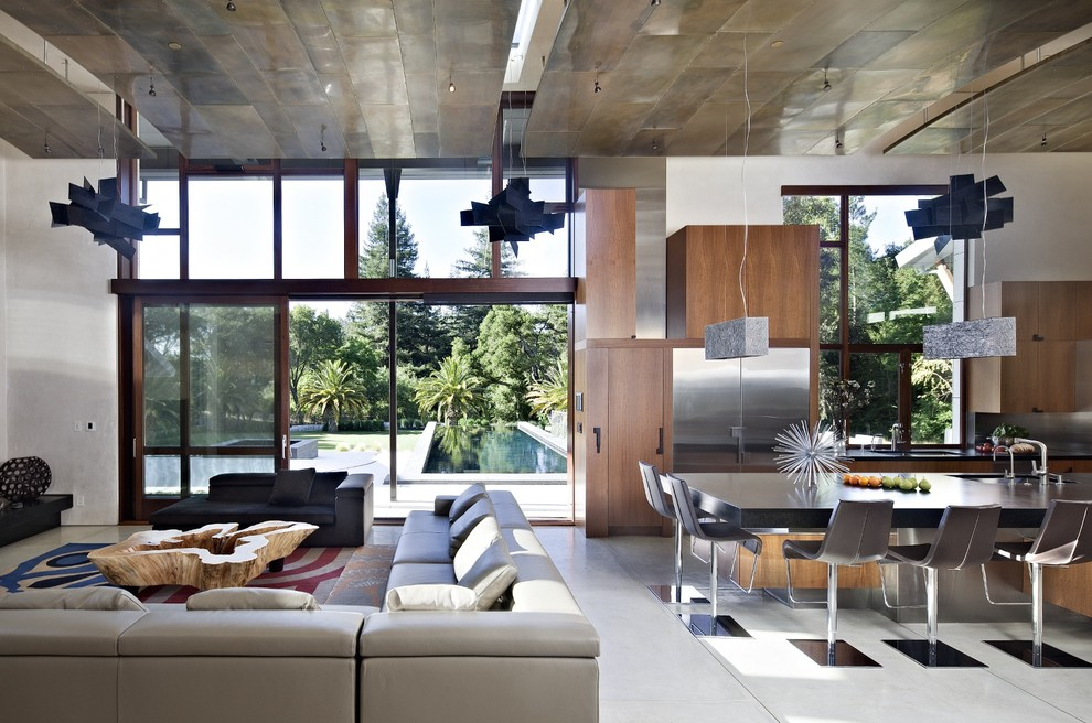 Inspiration for a large contemporary open concept living room remodel in San Francisco