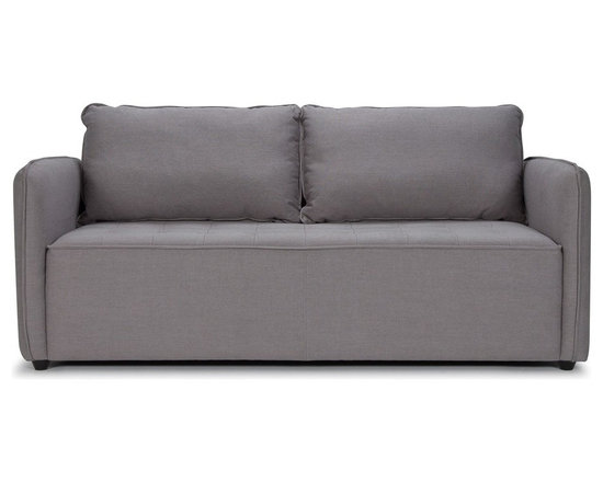 Sarreid DJ Sofa - A comfortable contemporary seating option is found with the Sarreid DJ sofa. Upholstered in steel grey fabric and features short pine legs finished in black. Great seating option for smaller living rooms.