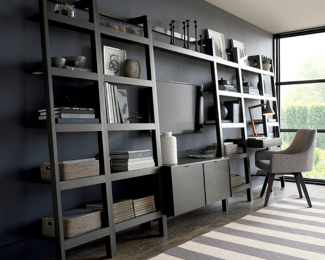 Sawyer Grey Leaning Media Stand With Two 18 Bookcases