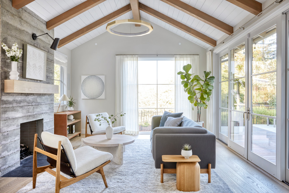 Inspiration for a scandinavian medium tone wood floor, brown floor, exposed beam, shiplap ceiling and vaulted ceiling living room remodel in San Francisco with gray walls, a standard fireplace and a concrete fireplace