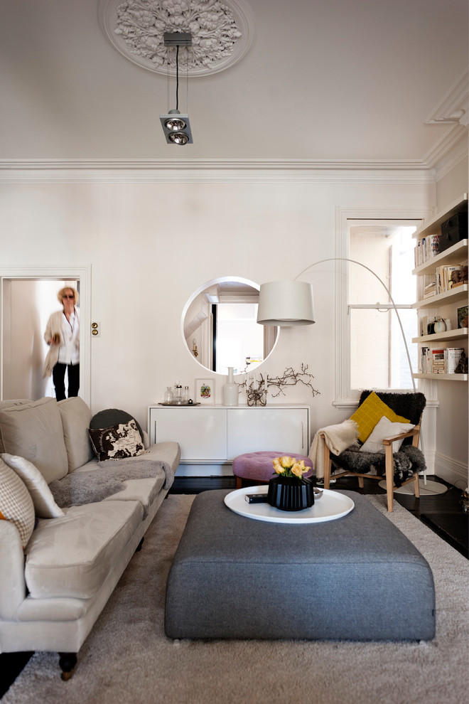 Mid-sized danish living room photo in Sydney with white walls
