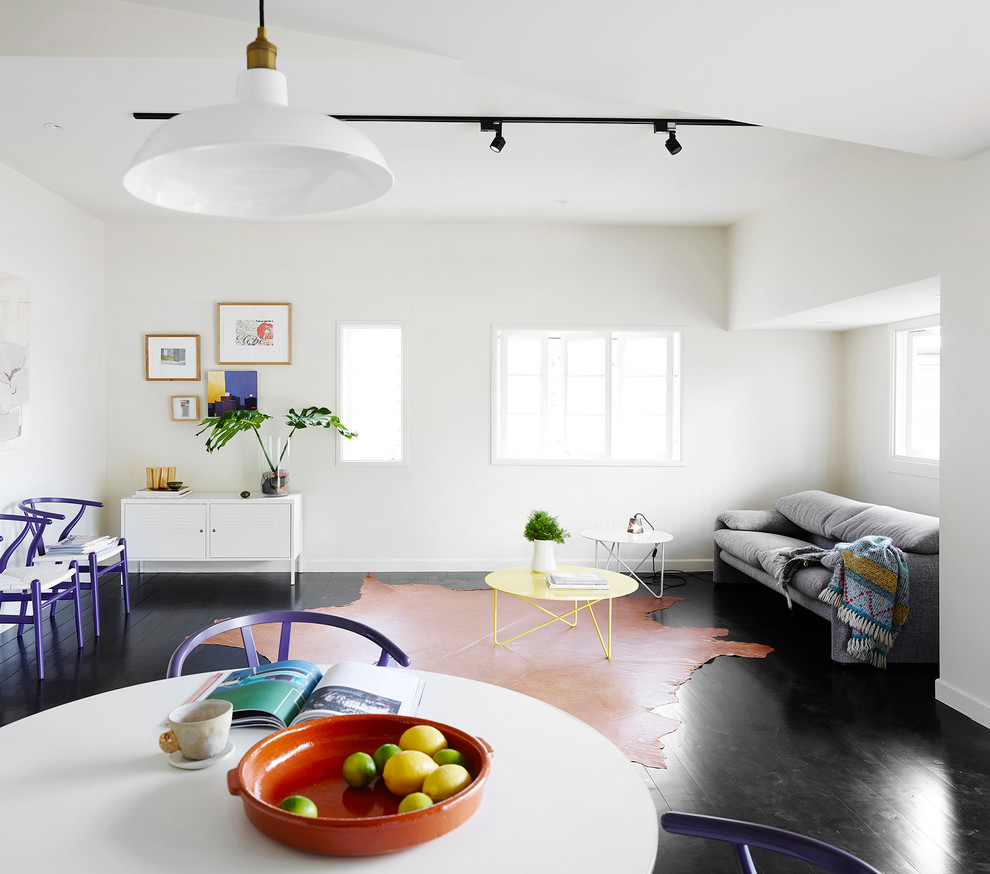 Inspiration for a scandinavian formal living room remodel in Brisbane with white walls