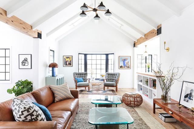 Living Room   Large Scandinavian Open Concept Light Wood Floor Living Room  Idea In Los Angeles