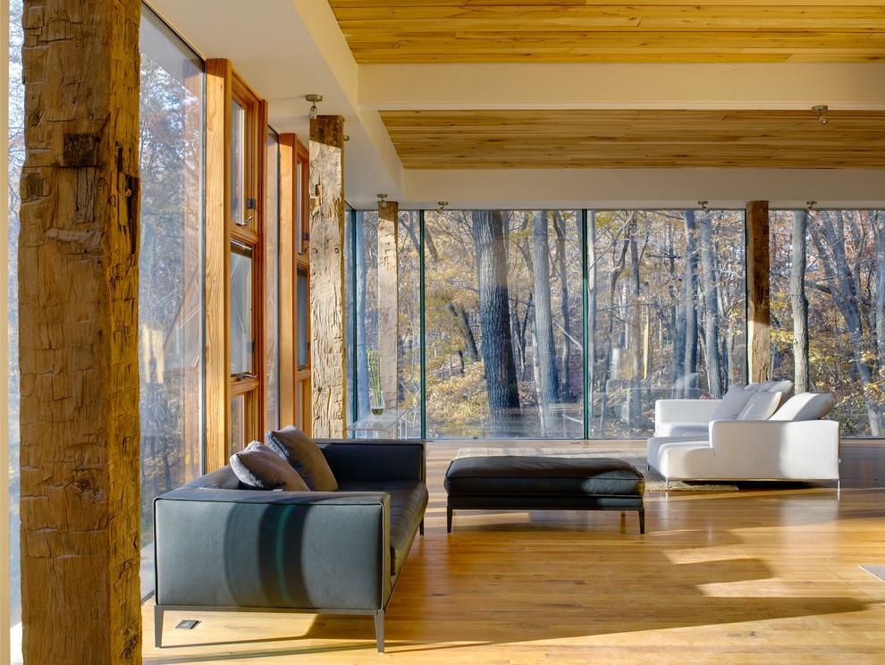 Minimalist medium tone wood floor living room photo in Cincinnati