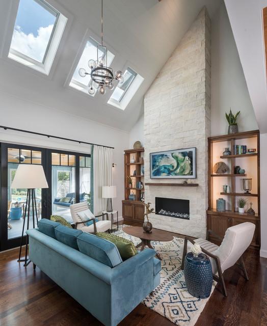 Sea Toned Contemporary Living Room with Striking Stone Firepalce -  Contemporary - Living Room - San Diego - by Eldorado Stone