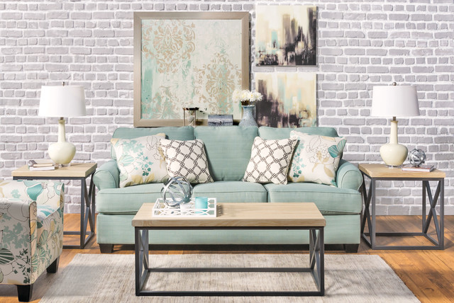 Seafoam sofa living room modern living room los for Living room 12x16