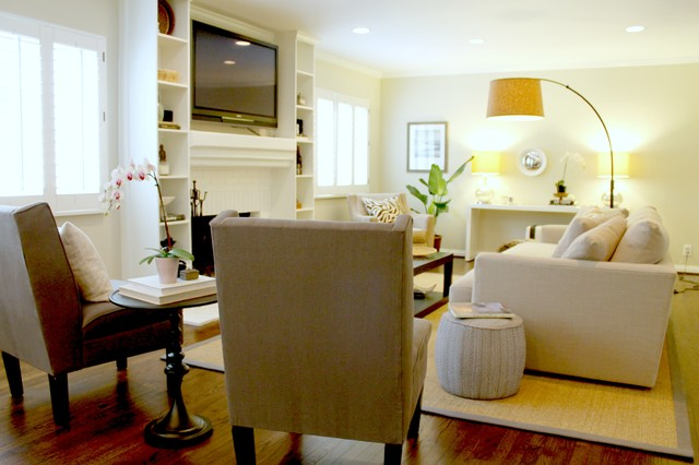 Seating Arrangement In Luxe Living Room Transitional Living Room Los An