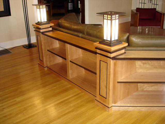 Sectional cherry shelving traditional-living-room