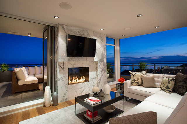 Modern Living Room With Fireplace see through indoor outdoor gas fireplace - modern - living room
