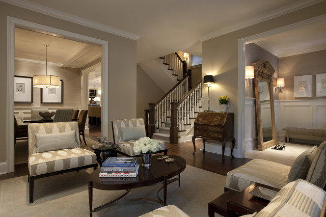 Awesome Example Of A Large Classic Brown Floor Living Room Design In Chicago With  Beige Walls
