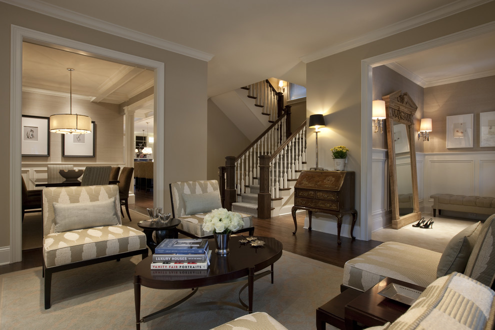 Example of a large classic brown floor living room design in Chicago with beige walls