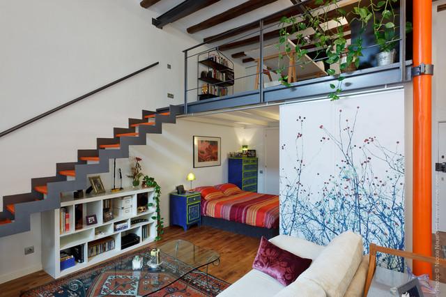 Separator Doubles As Artwork When Open Contemporary Living Room